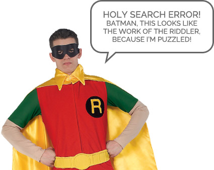 A person in a goofy costume stating the searched product cannot be found